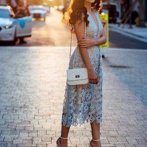 Double V Lace Midi Dress